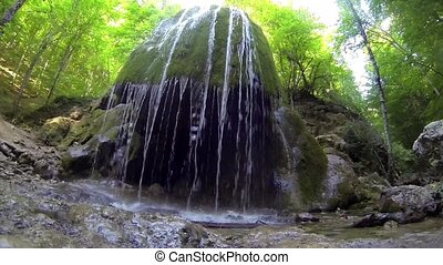Waterfall Silver Jets, Grand Canyon of Crimea, Crimea,...