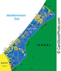 Gaza Strip map - Highly detailed vector map of Gaza Strip...