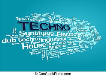 Estilos, palabra, electrónico, árbol, vector, Música,...