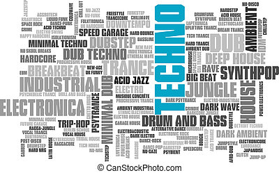 Electronic Techno Music Styles Word Cloud Bubble Tag Tree...