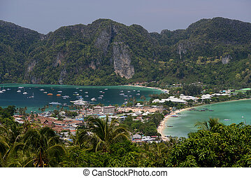 THAILAND KRABI - The view from the Viewpoint on the Town of...