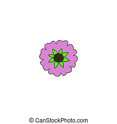 Flower - A purple flower with green leaves and a brown...