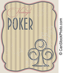Vintage poker card clubs, vector illustration
