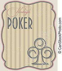 Vintage poker card clubs, vector illustration