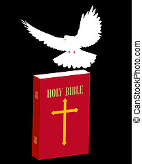 bible scripture and dove on a black background