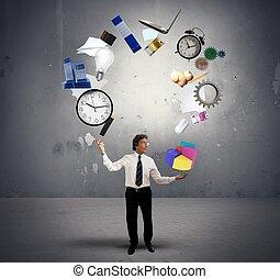 Juggler businessman - A Juggler businessman play with...