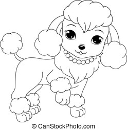 poodle coloring page - Glamorous dog coloring pages for kids...