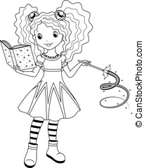 witch coloring page - little witch studying magic