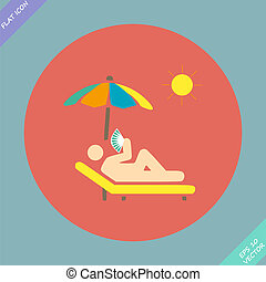 relax under an umbrella on a lounger - vector