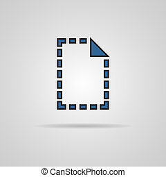 Document Icon dotted line with shadow. Vector illustration....