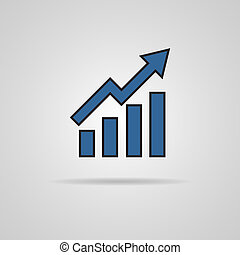 Vector growing graph icon with shadow. Vector illustration....