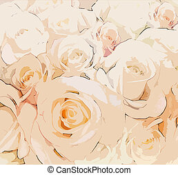 Floral greeting card with stylized beige roses