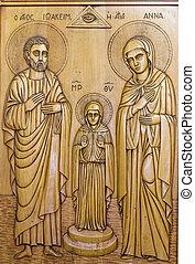madeira, ortodoxo, ícone