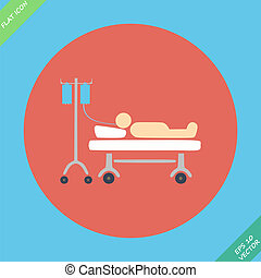 Life icons, hospitalized with serum- vector illustration...