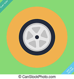Auto wheel tire - vector illustration. Flat