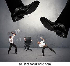 Crushed by taxes - Concept of group of manager crushed by...