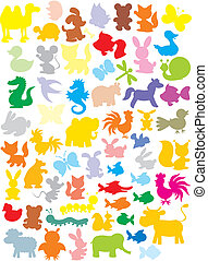 Silhouettes of animals - Vector outlined clip-arts of funny...