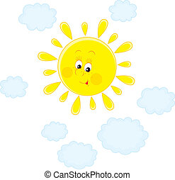 Sun and clouds - Vector clip-art of a smiling bright sun and...