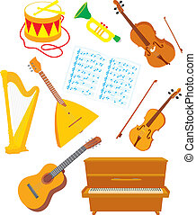 Musical instruments - Vector clip-arts of acoustic musical...