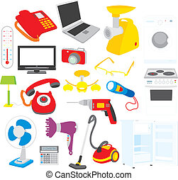 Home appliances - Vector clip-arts of home appliances, on a...
