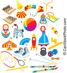 Toys and sporting accessories - Vector clip-arts of toys and...