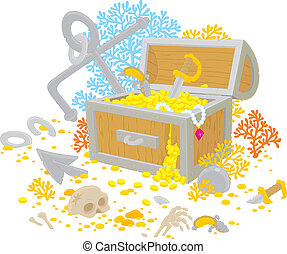 Treasure chest - Vector clip-art illustration of an anchor...