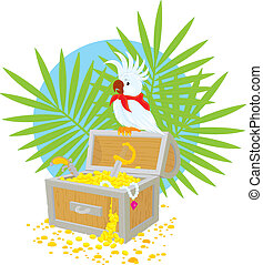 Pirate Parrot and treasure chest - Vector clip-art...