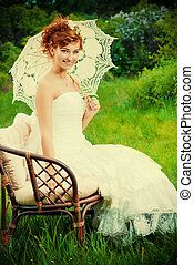 country style - Beautiful smiling bride with chaming red...