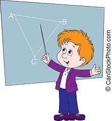 Geometry - Schoolboy at the blackboard in class Geometry
