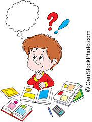 Schoolboy thinking - Schoolboy solving a test