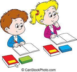 Schoolchildren - Schoolboy and schoolgirl sitting at their...