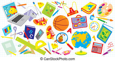 School set - Vector clip-arts of objects for elementary...