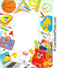 School border - Vector border with a cartoon character of a...