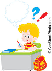 Schoolboy writing a test - Vector illustration of an...