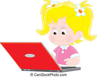 Girl with a laptop - Vector illustration of a little girl...