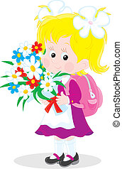 Schoolgirl with flowers - Vector illustration of a first...