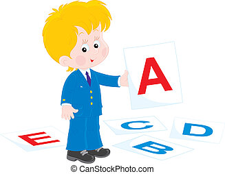 Schoolboy - Vector illustration of a school student in...