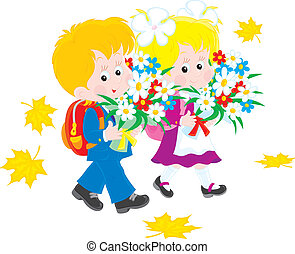 Schoolboy and schoolgirl - Vector clip-art illustration of...