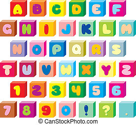 text font - Text font with color childrens bricks