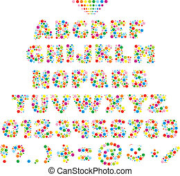 Multicolor font - Vector text type made with color balls