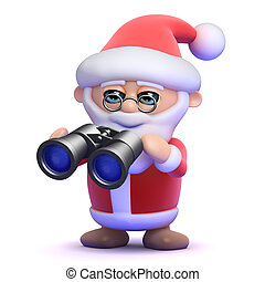 3d Santa watches through binoculars - 3d render of Santa...