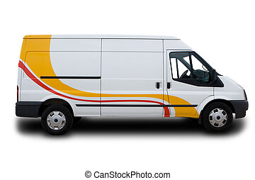 Delivery Van - A Big White Delivery Van with yellow and red...