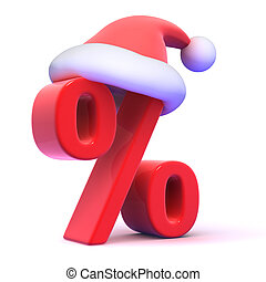 3d Seasonal percent symbol with Santa Claus hat - 3d render...
