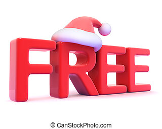 3d Free seasonal sign with Santa Claus hat - 3d render of...