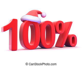 3d One hundred percent symbol with Santa hat - 3d render of...