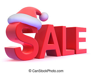3d Sale with Santa Claus hat - 3d render of the word SALE...