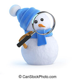 3d Blue snowman with magnifying glass - 3d render of a...