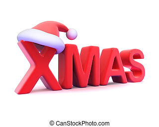 3d Xmas with Santa Claus hat - 3d render of the word FREE...