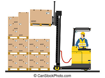 Forklift - Yellow forklift reach truck on a white background...