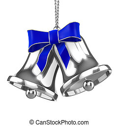 3d Silver Christmas bells with blue ribbon - 3d render of...